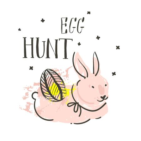 Hand drawn vector abstract graphic scandinavian collage Happy Easter cute simple bunny,eggs illustrations greeting card and handwritten calligraphy Egg hunt isolated on white background. 版權商用圖片 - 116845777