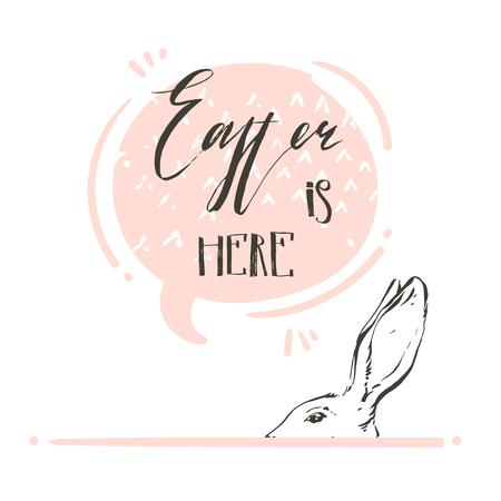 Hand drawn vector abstract graphic scandinavian collage Happy Easter cute simple bunny,speech bubble illustrations greeting card and handwritten calligraphy Easter is here isolated on white background