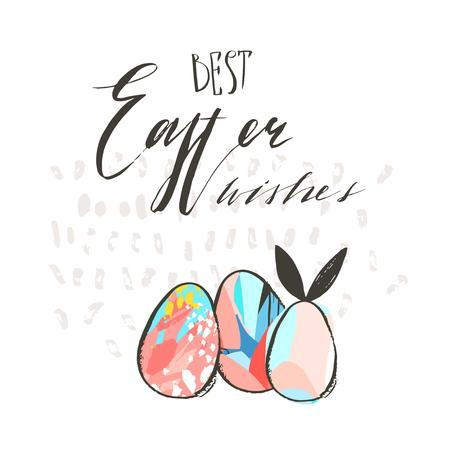 Hand drawn vector abstract graphic scandinavian collage Happy Easter cute simple bunny,eggs illustrations greeting card and handwritten calligraphy Best Easter wishes isolated on white background Stok Fotoğraf - 117257713