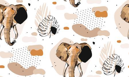 Reticolo senza giunte del collage di illustrazioni artistiche grafiche creative astratte di vettore disegnato a mano con disegno di elefante di schizzo e foglie di Palma tropicale nel motivo tribale isolato su priorità bassa bianca Vettoriali