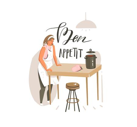 Hand drawn vector abstract modern cartoon cooking class illustrations poster with retro vintage cooking woman and handwritten calligraphy Bon Appetit isolated on white background.