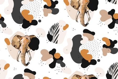 Hand drawn vector abstract creative graphic artistic illustrations seamless collage pattern with sketch elephant drawing and tropical palm leaves in tribal mottif isolated on white background. Ilustracja