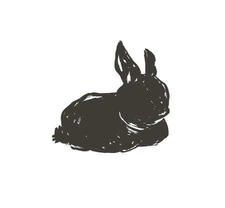 Hand drawn vector abstract sketch graphic scandinavian ink freehand textured black sihouette Happy Easter cute simple bunny illustrations greeting design element isolated on white background Stockfoto - 117257717
