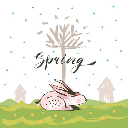 Hand drawn vector abstract sketch graphic scandinavian collage Happy Easter cute simple bunny,tree illustrations greeting card poster and handwritten calligraphy Spring isolated on white background.