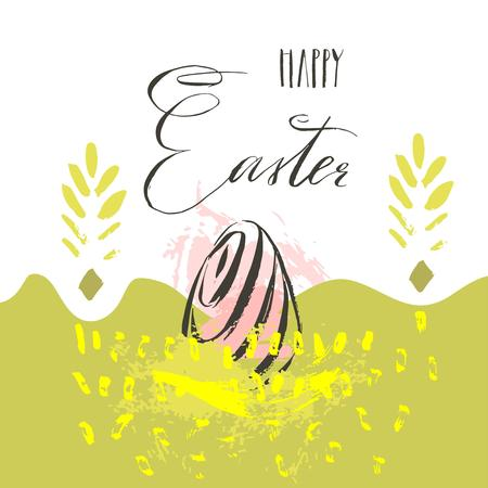 Hand drawn vector abstract scandinavian collage Happy Easter eggs illustrations greeting card,freehand textures and handwritten modern calligraphy Happy Easter isolated on white background