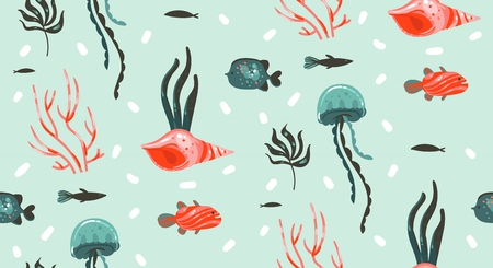 Hand drawn vector abstract cartoon graphic summer time underwater illustrations seamless pattern with coral reefs,jellyfish,seahorse and different fishes isolated on white background.
