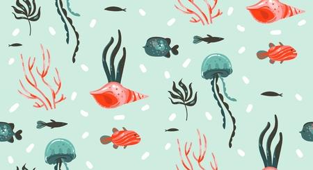 Dibujado a mano vector abstracto dibujos animados gráfico verano bajo el agua ilustraciones de patrones sin fisuras con arrecifes de coral, medusas, caballitos de mar y diferentes peces aislados sobre fondo blanco Ilustración de vector