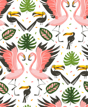 Hand drawn vector abstract cartoon graphic summer time beach illustrations seamless pattern with flamingo and toucan birds,monstera and banana tree tropical palm leaves isolated on white background.