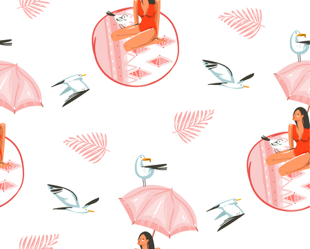 Hand drawn vector abstract cartoon summer time graphic illustrations artistic seamless pattern with gull bird and beauty girl under pink bohemian umbrella on beach mat isolated on white background.