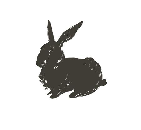 Hand drawn vector abstract sketch graphic scandinavian ink freehand textured black sihouette Happy Easter cute simple bunny illustrations greeting design element isolated on white background