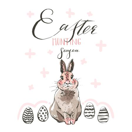 Hand drawn vector abstract sketch graphic scandinavian collage Happy Easter cute simple bunny illustrations greeting card and handwritten calligraphy Easter hunting season isolated on white background.