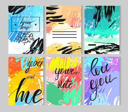 Set of artistic creative universal cards. Hand Drawn textures. Wedding, anniversary, birthday, Valentine s day, party. Design for poster, card, invitation, placard brochure flyer Vector Isolated