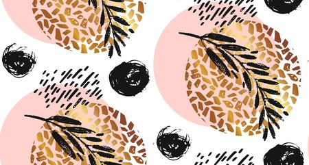 Hand drawn vector seamless textured round golden pattern with painted scratched texture and brunch in pastel colors isolated on white background. Illustration