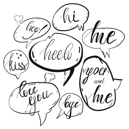 Hand drawn vector collection of speach bubbles with short messages isolated on white background.