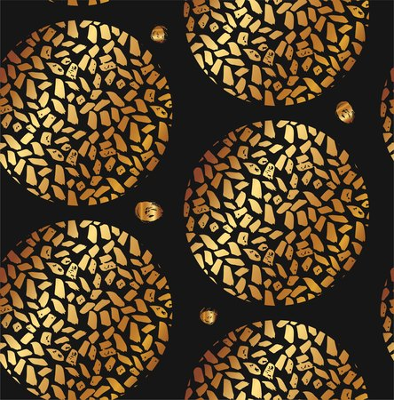 Hand drawn vector textured round golden pattern with painted scratched texture isolated on black background. Illustration