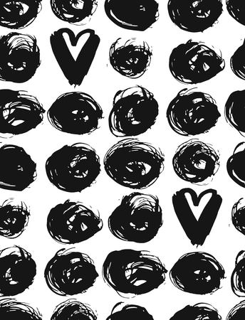 Seamless dot and heart pattern.Hand painted circles with rough edges. Dry brush ink illustration. Illustration