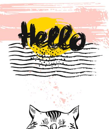 Hand drawn vector textured greeting card template with cat.Hello ink lettering Illustration