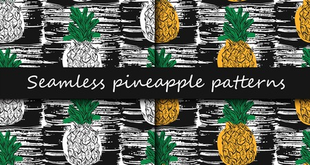 Vector Seamless Pattern with Pineapples 版權商用圖片 - 119408200