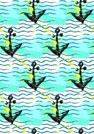 Seamless vector pattern with anchor and sea wave.