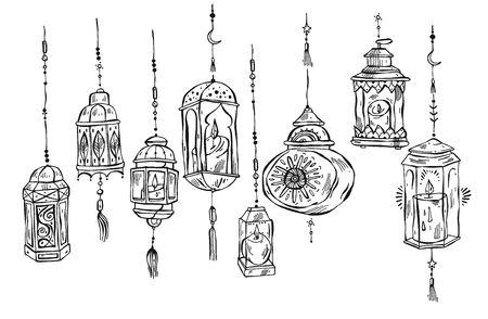 Ramadan Kareem et fond de mosquée dessinés à la main, beaux éléments de conception de carte de voeux. Illustration vectorielle avec lampes de poche. Célébration de la fête islamique. Lanternes doublées d'arabes isolés sur blanc
