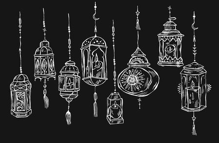 Hand drawn Ramadan Kareem and mosque background,beautiful greeting card design elements.Vector illustration with flashlights. Islamic Festival celebration.Arabic lined lanterns isolated on black Illustration