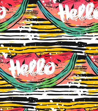Hand drawn vector striped abstract textured pattern with watermelon ang Hello lettering.Summer backgroung,vector background,texture paper,texture background,summer pattern,watermelon slice. Stockfoto - 119408244