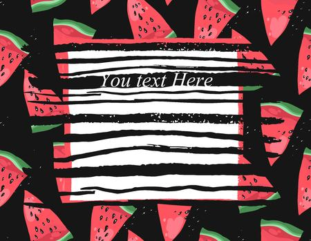 Vector bright summer card with watermelon and ink stroke texture. Beautiful summer poster with watermelon on black background. Journal and greeting card with place for your text