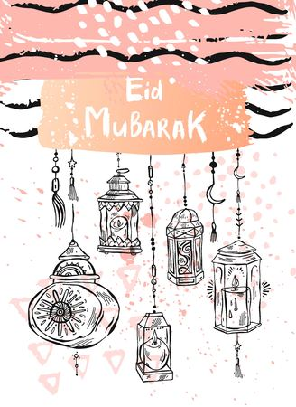 Eid Mubarak lettering,hand draw abstract greeting background.Holiday,muslim community festival greeting card template Banque d'images - 119408258