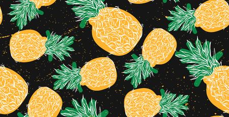 Abstract floral hand drawn vector seamless pattern with cartoon pineapples in yellow and green colors on black background. Summer Fruits repeating illustration. Endless print texture. Fabric design.
