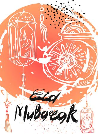 Eid Mubarak lettering,hand drawn abstract greeting background.Eid background,eid greetings card,eid card,amadan,eid celebration,eid al adha.Holiday,muslim community festival greeting card template.