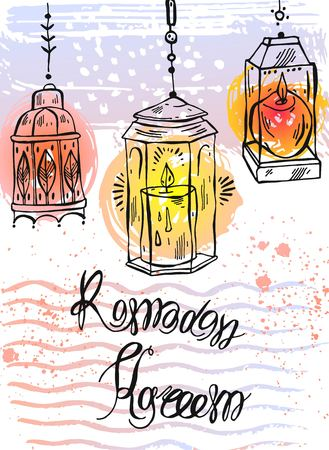 Hand drawn Ramadan Kareem lettering and Lamps greeting card.Ramadan Kareem vector background.Card template for ramadan holiday,ramadan celebration,ramadan muslim,ramadan festival,ramadan greeting