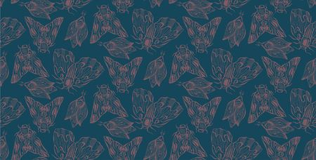 Butterflies. Moths. Hand drawn doodle moth vector seamless pattern. Night butterflies.