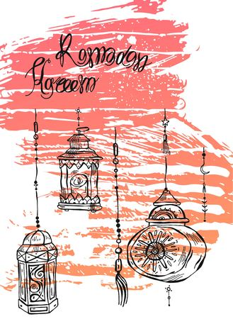 Hand drawn Ramadan Kareem and mosque greeting card Illustration