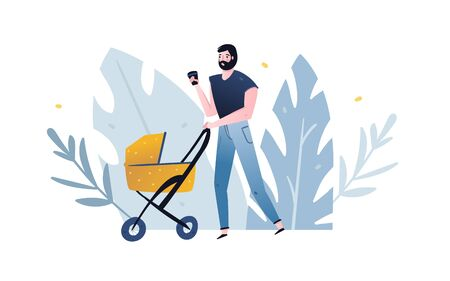 Hand drawn vector abstract cartoon modern graphic illustrations art with man drinking coffee and stroller abstract leaves background isolated on white background