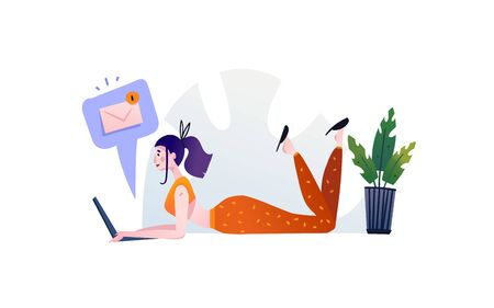 Hand drawn vector abstract cartoon modern graphic illustrations art with girl and laptop isolated on white background. Ilustrace