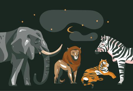Hand drawn vector abstract cartoon modern graphic African Safari collage illustrations art banner with safari animals isolated on black color background 일러스트