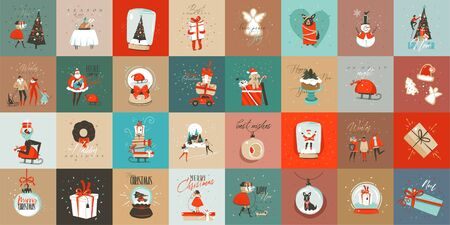 Diversión abstracta de vector dibujado a mano colección de tarjetas de dibujos animados de tiempo de feliz Navidad con lindas ilustraciones, cajas de regalo sorpresa y texto de caligrafía moderna manuscrita aislado sobre fondo de color