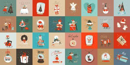 Divertimento astratto di vettore disegnato a mano collezione di carte del fumetto di buon Natale tempo impostato con illustrazioni carine, scatole regalo a sorpresa e testo scritto a mano di calligrafia moderna isolato su sfondo colorato