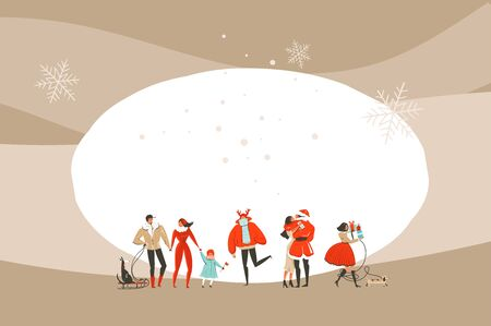 Hand drawn vector abstract fun Merry Christmas and Happy New Year time cartoon illustration greeting card with xmas people isolated on craft background