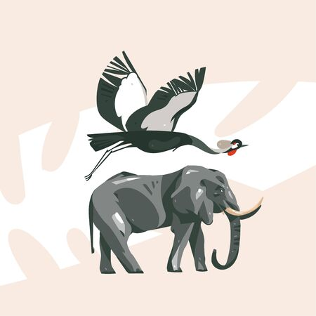 Hand drawn vector abstract cartoon modern graphic African Safari collage illustrations art banner with safari animals isolated on pastel color background