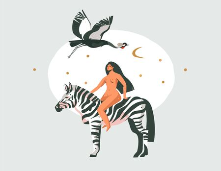 Hand drawn vector abstract cartoon modern graphic African Safari Nature concept collage illustrations art print with zebra animal