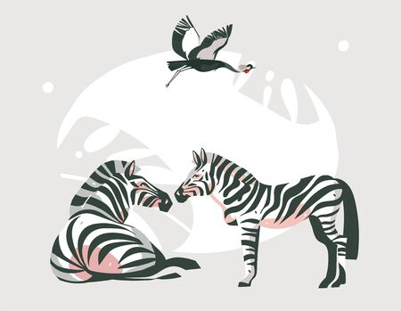 Hand drawn vector abstract cartoon modern graphic African Safari collage illustrations art banner with safari animals isolated on pastel color background.