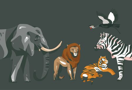 Hand drawn abstract cartoon modern graphic African Safari collage illustrations art banner with safari animals isolated on black color background Ilustracja