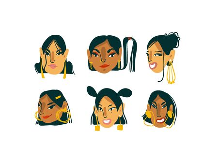 Hand drawn vector abstract cartoon modern graphic girls characters collection set bundle with gold jewelry illustration art isolated on white background