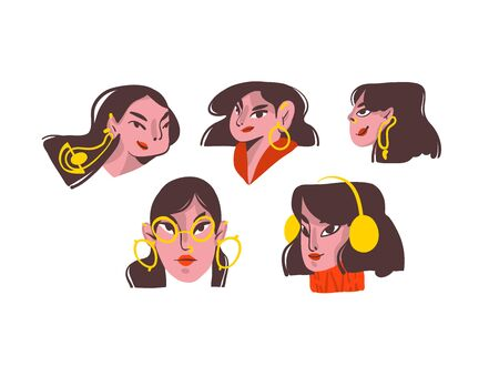 Hand drawn vector abstract cartoon modern graphic girls characters collection set bundle with gold jewelry illustration art isolated on white background.