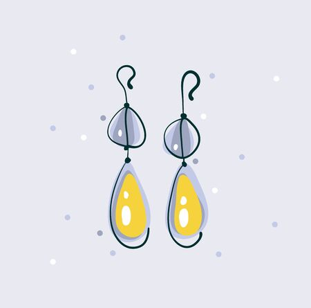 Hand drawn vector abstract graphic illustration with beautiful wedding golden earrings isolatedon white background Ilustracja