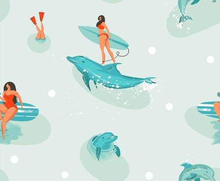 Hand drawn vector stock abstract cute summer time cartoon illustrations seamless pattern with surfboard girls and dolphins in blue ocean water background.