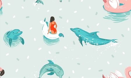 Hand drawn vector stock abstract cute summer time cartoon illustrations seamless pattern with unicorn rubber ring and dolphins in blue ocean water background  イラスト・ベクター素材