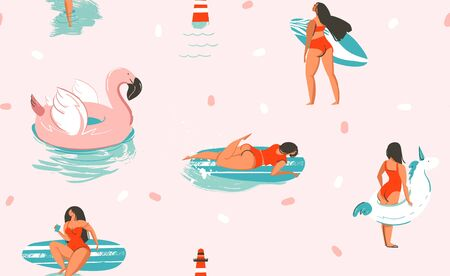 Hand drawn vector stock abstract cute summer time cartoon illustrations seamless pattern with unicornand flamingo rubbers rings and dolphins isolated on pink background