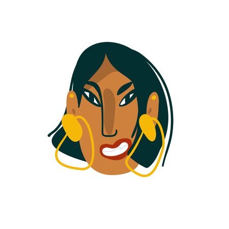 Hand drawn vector abstract cartoon flat minimalistic modern graphic indian girl avatar portrait character with earrings stock illustration art isolated on white background.